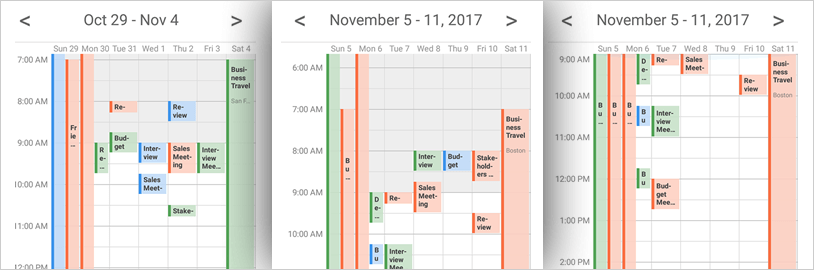 Display a seven-day week or configurable workweek with Xamarin Schedule control