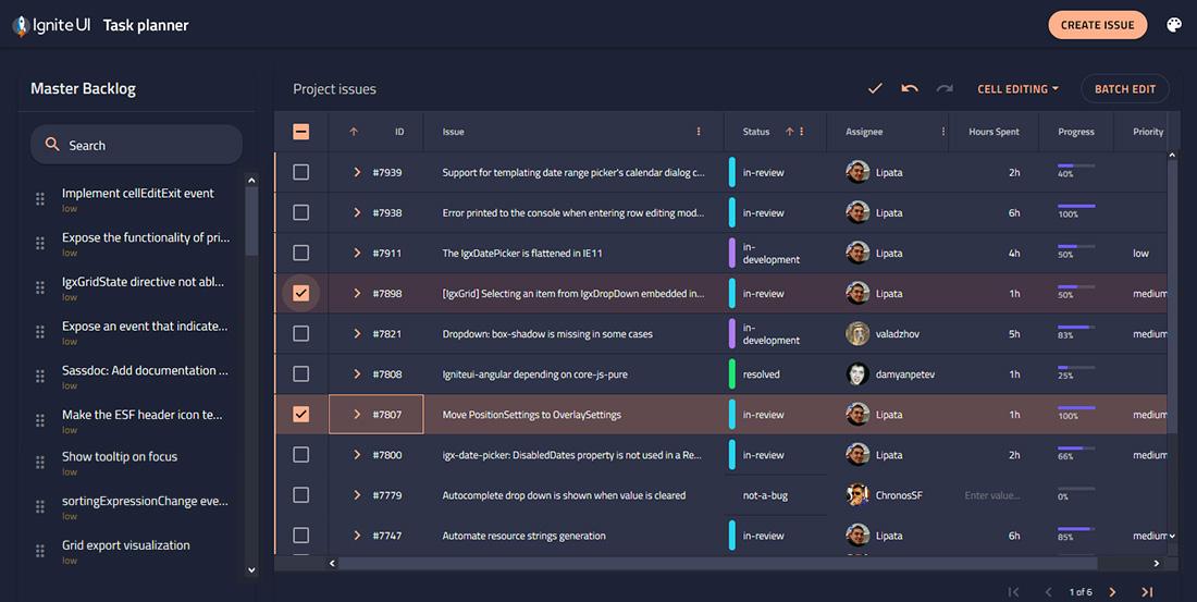 Infragistics Ultimate, Task Planner sample application for managing tasks developed with Ignite UI web components.