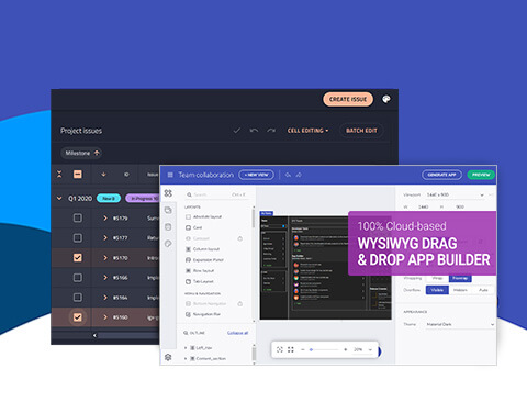 Dashboard featuring Ignite UI development toolkit using data grid and list components.