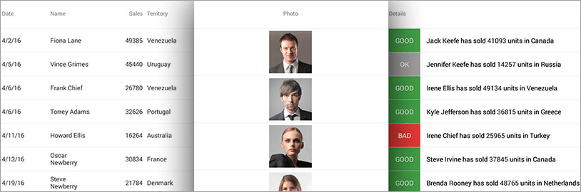 Easily create a grid with auto-generated columns or select column types among our built-in columns