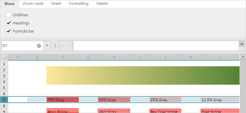 Spreadsheet Configurable View Function