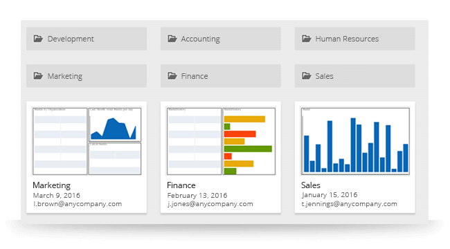 Create dashboards with ReportPlus Desktop or iOS and share them instantly and securely across your business with ReportPlus Server