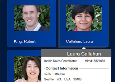 Display contact info when a user hovers on a person's photo.