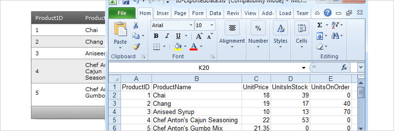 WinForms Excel Framework example