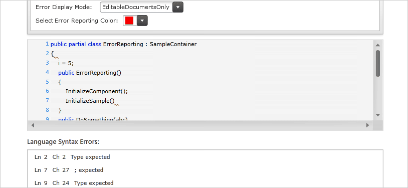 WinForms Syntax Tree/Error Reporting
