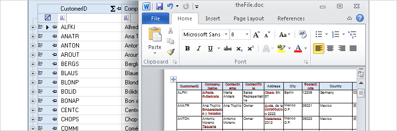 WinForms Instant Exports
