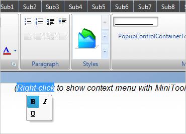 WinForms Mini Toolbar