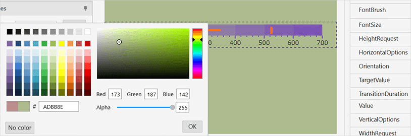 Color Customizations for WPF Bullet Graph Control backgrounds