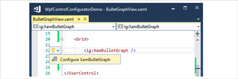 XAML Editor Example for WPF Bullet Graph Control