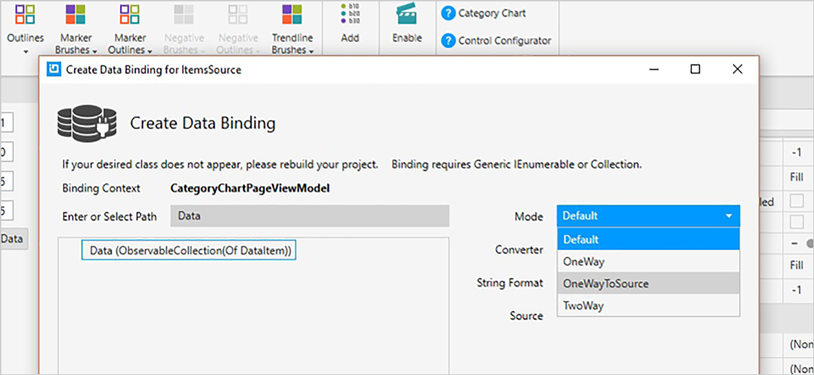 Data Binding Example for WPF Category Chart Control