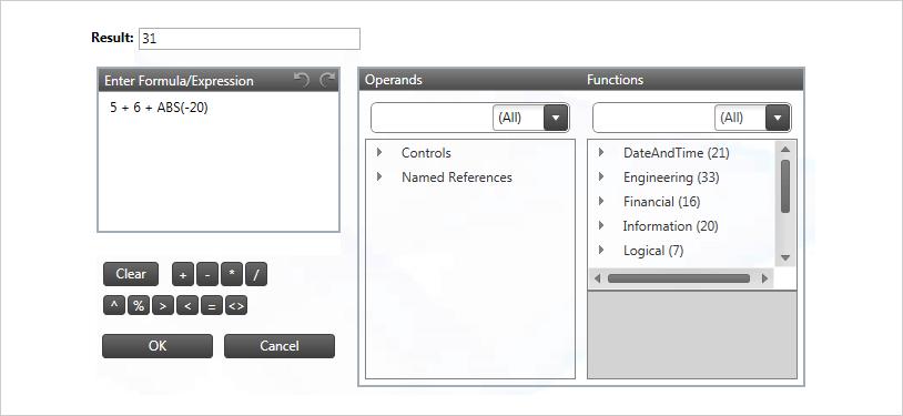 Formula Editor Dialog Template