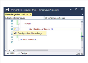 XAML Editor Example for WPF Linear Gauge Control