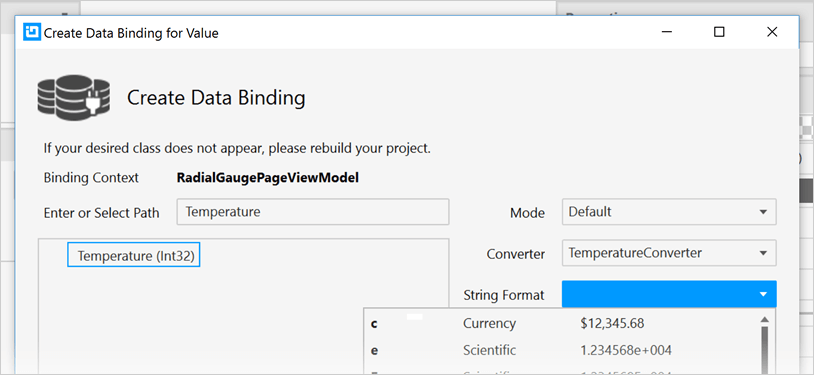 Data Binding Example for WPF Radial Gauge Control