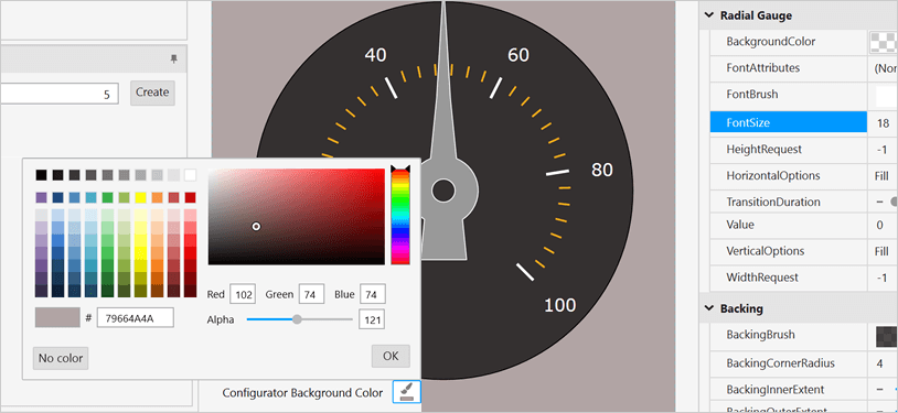 Color Customization for WPF Radial Gauge Control backgrounds