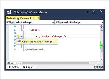 XAML Editor Example for WPF Radial Gauge Control