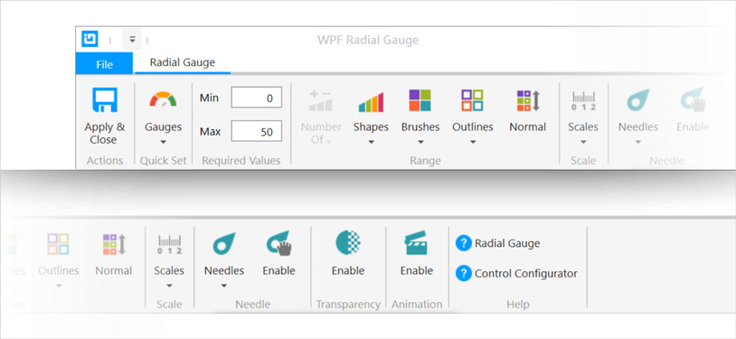 Ribbon Gallery Example for WPF Radial Gauge Control