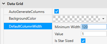 Adjust DefaultColumnWidth property to have grid display nicely