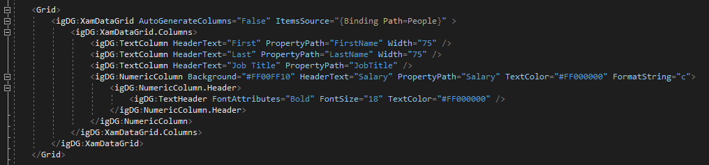 All the properties defined in the configurator have been generated in the XAML code.